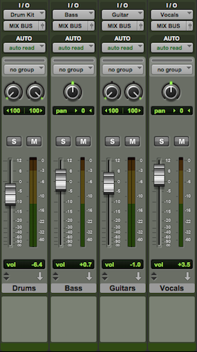 Setting up drum bus, guitar bus & vocal bus channels using auxiliary tracks: Auxiliary Track Inputs