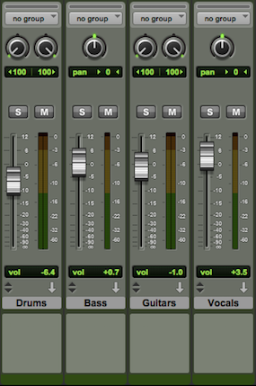 Setting up drum bus, guitar bus & vocal bus channels using auxiliary tracks: Auxiliary Channels