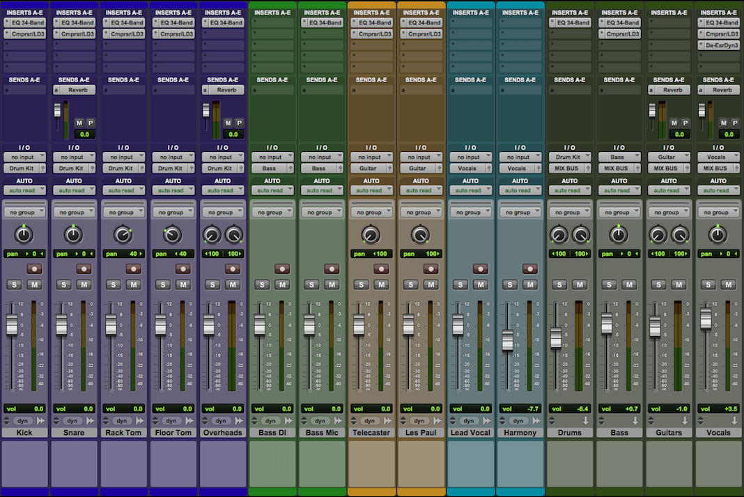 Setting up drum bus, guitar bus & vocal bus channels using auxiliary tracks: Auxiliary track routing