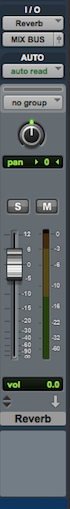 Setting up an effect send and return to process reverb and delay: input / output