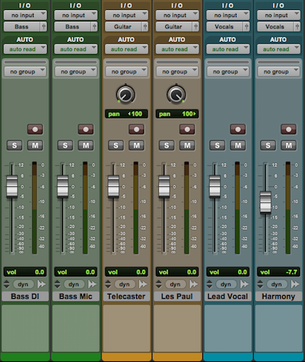 Setting up drum bus, guitar bus & vocal bus channels using auxiliary tracks: Instrument Outputs