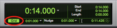 A guide to using the Pro Tools First edit mode buttons - toggle grid lines