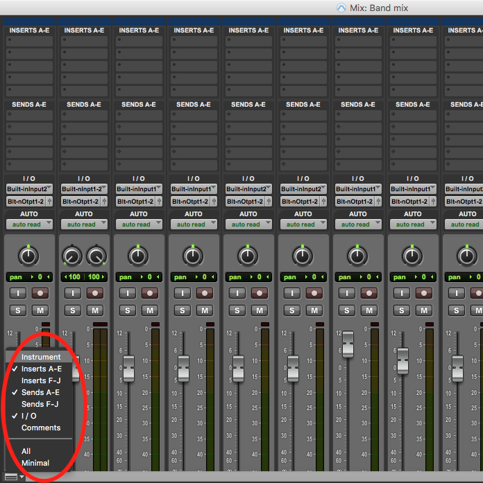 Customise mix window in pro tools first - options