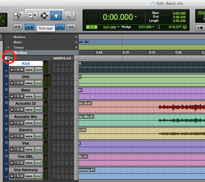 Customize edit window in pro tools first - icon