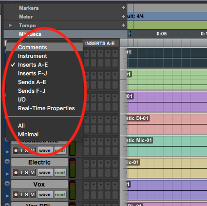 Customize edit window in pro tools first - options