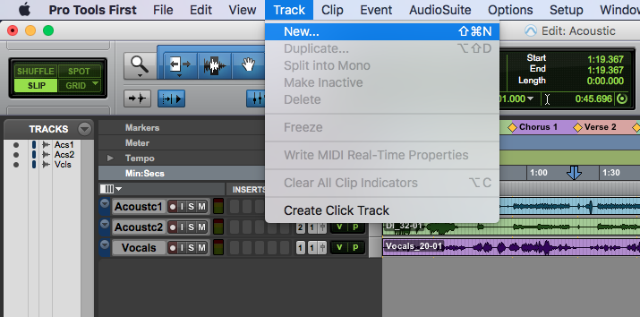 new track in Pro Tools First - Track, New