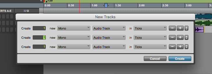 new track in Pro Tools First - add more tracks