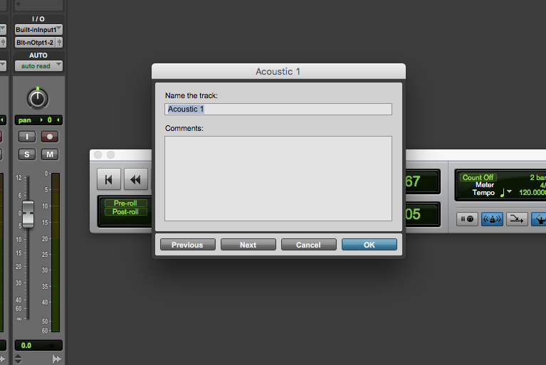 new track in Pro Tools First - rename tracks 2