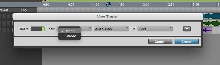 new track in Pro Tools First - mono or stereo