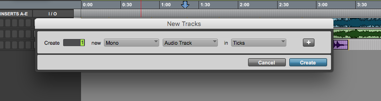 new track in Pro Tools First - new tracks window