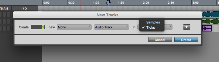 new track in Pro Tools First - samples, ticks