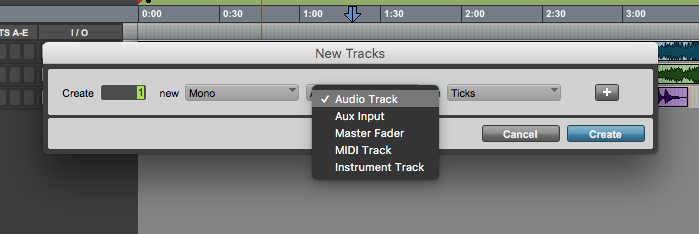 new track in Pro Tools First - track type