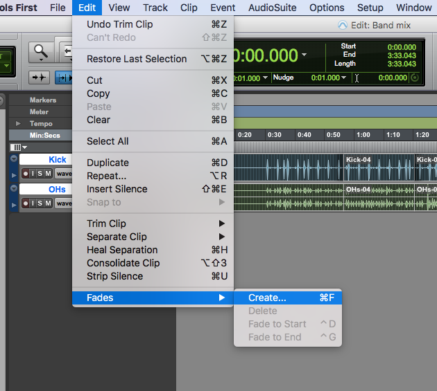 Using the Pro Tools First Batch Fade feature to speed up your editing - edit, fades, create