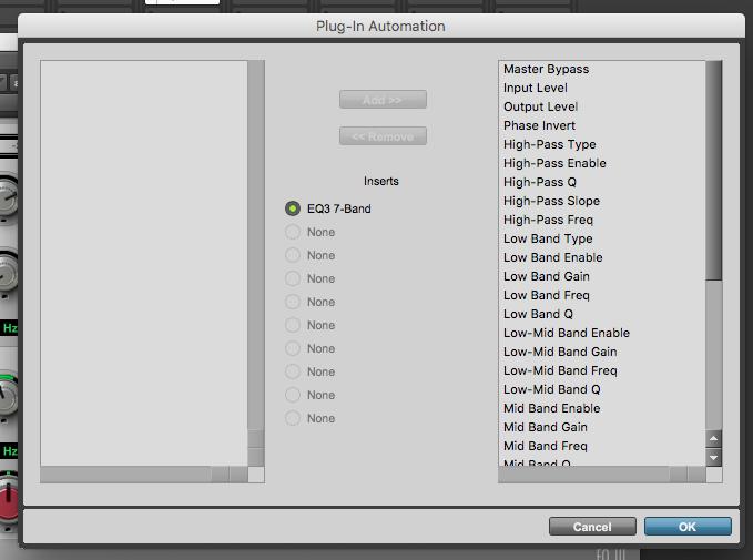 Automate Pro Tools First Plugins - plugin automation window
